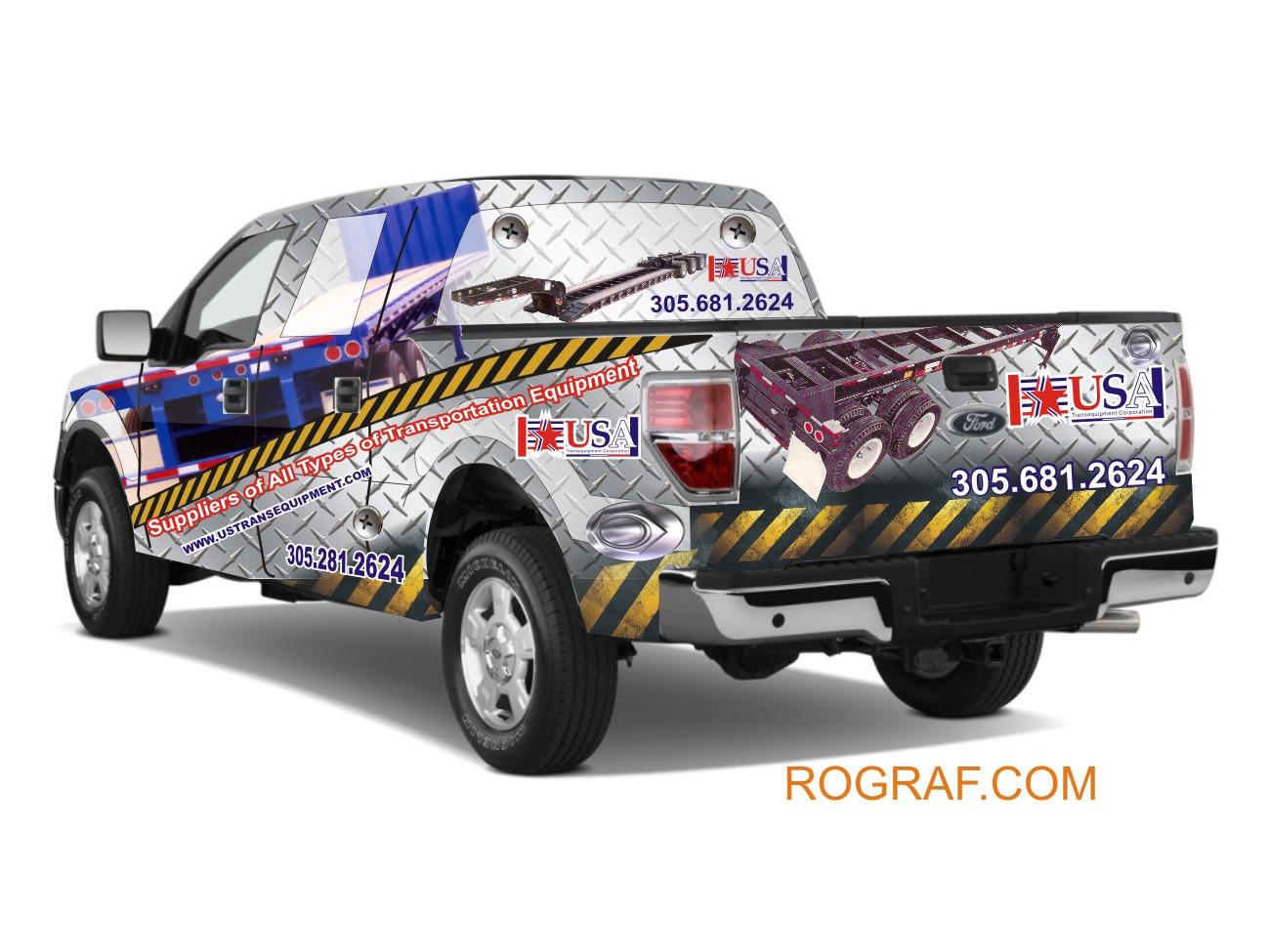 Truck wraps - Evoltura grafica en camioneta - Caso de estudio - case study, vehicle wrap. En 2004 -F 150 XLT Super crub .Cliente: USA equipment. miami florida